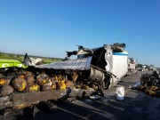Truck Carrying Pumpkins Crashes, Snarls Traffic, Damages Road