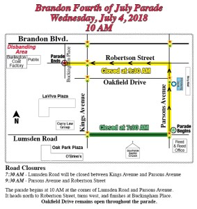 Brandon Parade Route | July 4 | Events