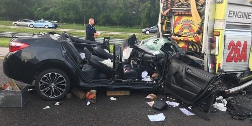 Driver Critical After Rear Ending Hillsborough Fire Truck | Tampa
