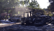 Tampa Firefighters Battle Blaze at Auto Salvage Yard