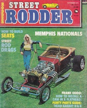 Linda Vaughan with CCR T-Bucket, Street Rodder magazine November, 1975