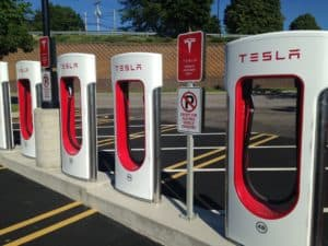 Four Tesla supercharging stations
