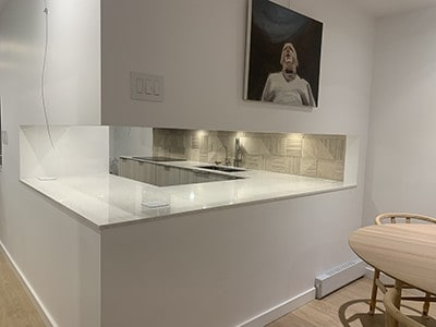 a modern, white kitchen