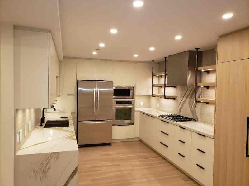 new lighting and electrical work in a modern kitchen