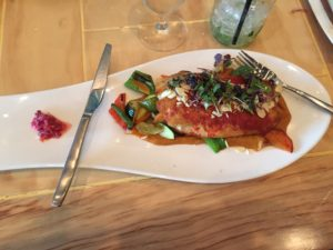 Delicious fish in Houston.  Not Fried!  Fresh vegetables!