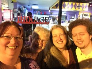TC, Nan, Betsy and Ian outside The Chocolate Bar