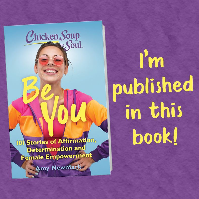 Be you book cover chicken soup for the soul also says I'm published in this book on a purple background