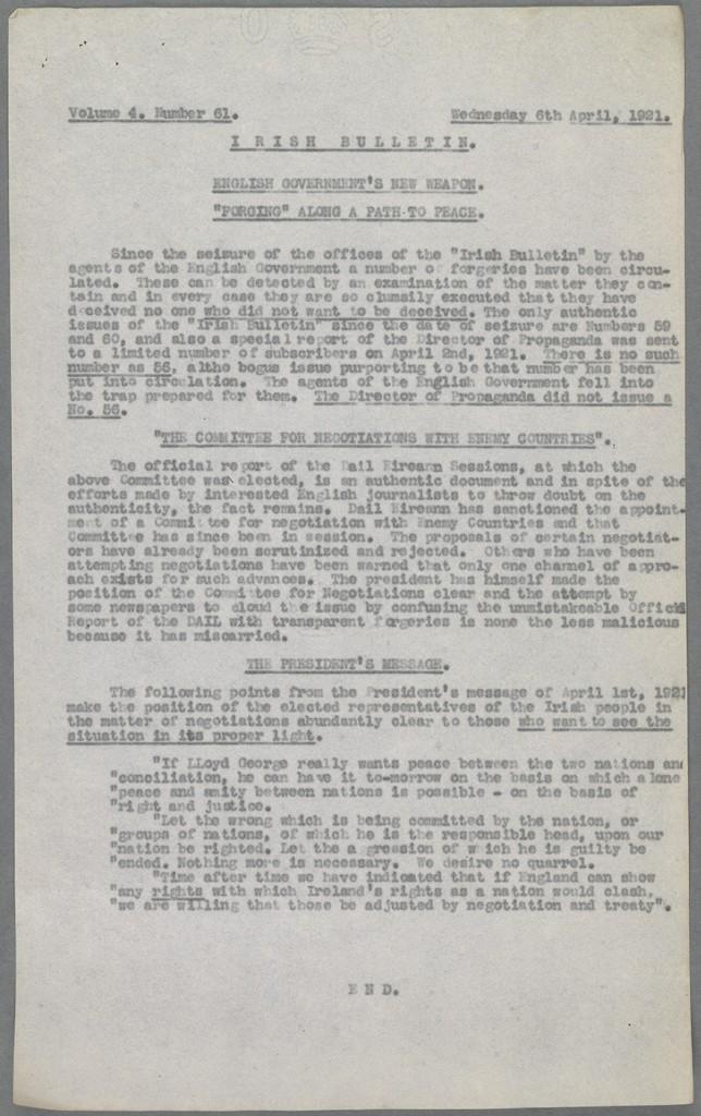 Irish Bulletin (Vol.4 no.61) Shelfmark: IN.20.71
