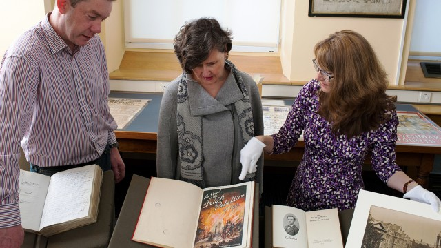 Helen Shenton, Trinity College Librarian and College Archivist with project leads Estelle Gittins, M&ARL and Shane Mawe, Early Printed Books and Special Collections