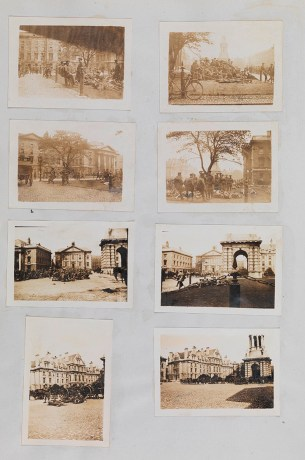 TCD MS 2074 f.56v 8 snapshots of groups of British soldiers in Front Square