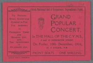 TCD MS 4060-49/395 Ticket for concert in aid of The Volunteers' Dependants Fund