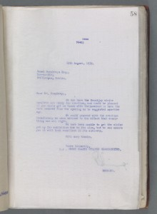 TCd MS 6011 f58r copy letter from Harry Clarke Stained Glass Limited to Emmet Humfreys regarding the installation of the window in Mountjoy prison