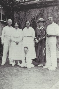 The Fannin family at 32 Herbert Park (Summer 1915); Alfred and Violet Fannin and their daughter Sylvia and son Eustace; on right , Edward Fannin and his future wife Nora Sidford