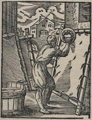 Fig. 1 The parchment maker is scraping a hide stretched in a wooden frame. From J. Amman, The book of trades, 1568. [Membranarius. Der Bermenter. (The Parchment Maker) / Panoplia omnium illiberalium mechanicarum ... (Book of Trades)]. Source