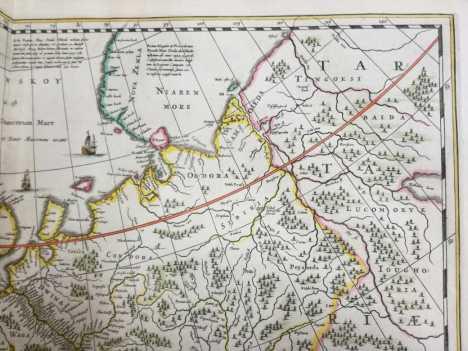 Map of Novaya Zemlya in Jansson's Atlas Contractus 1666