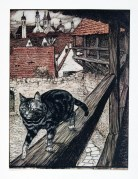 """""""The cat stole away behind the city walls to the church"""" 1909"""