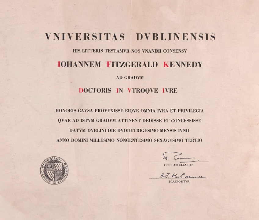 Kennedy degree cert MS4881_001_LO (3)   Manuscripts at Trinity