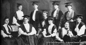 The first committee of the Elizabethan Society. S. E. Auchinleck is standing, extreme right.