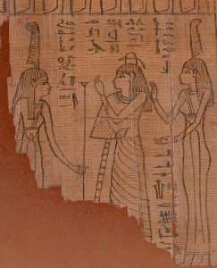 Fig. 2. Detail of MS 1664 showing Te-saf between the twin goddesses of Maat who are identified by the feathers over their heads.