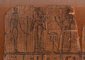Fig.3 Detail of delaminating papyrus along the top edge of MS 1664 in raking light.