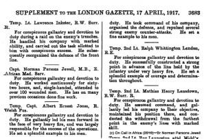 MC Award London Gazette, April 1917