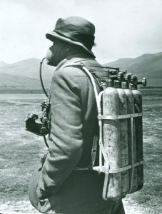 TCD MS 10484/4/1 member of the climbing team with oxygen tanks