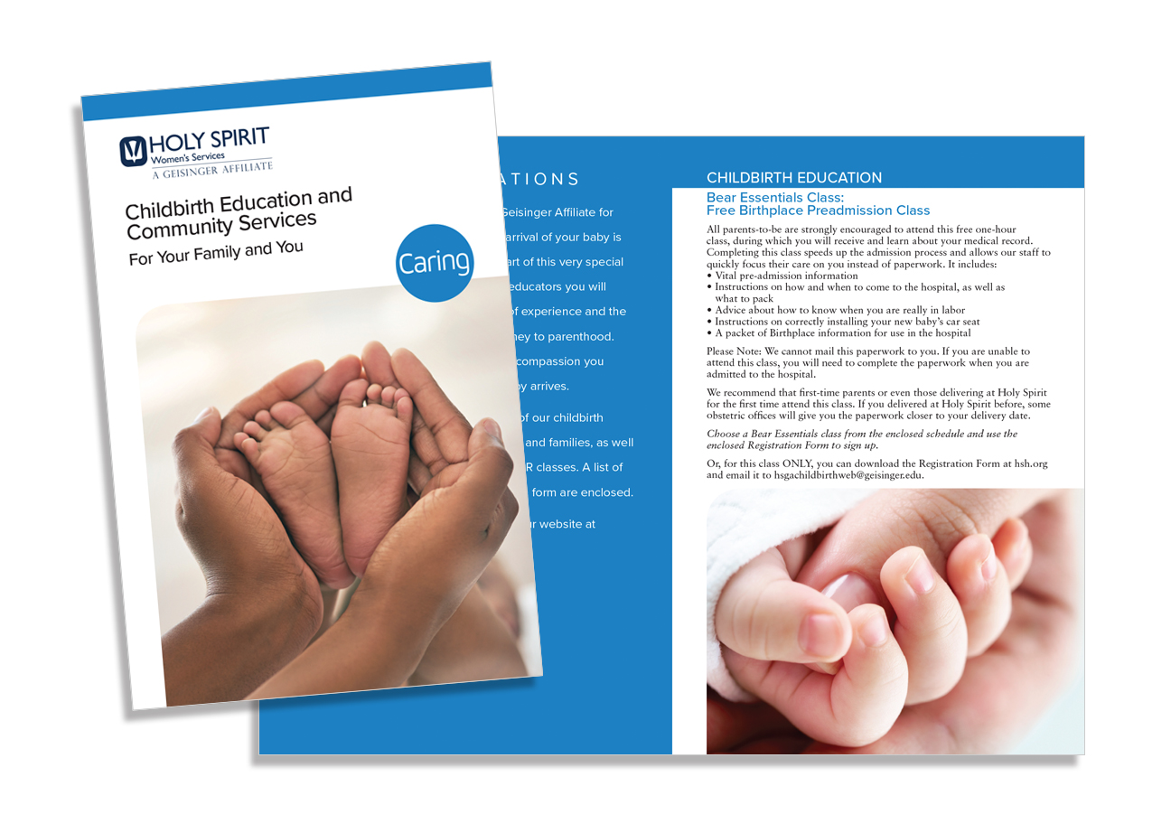 brochure design, childbirth education brochure, holy spirit a geisinger affiliate