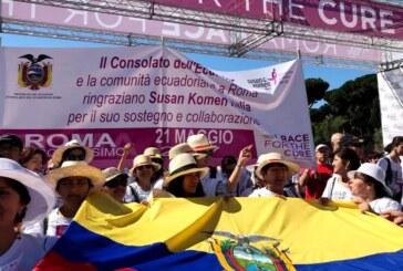 """Comunidad ecuatoriana participa en la 18° edición de la """"Race for the Cure"""" en Roma"""
