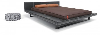 Suite bed with sharp cover in brown basic 381-1