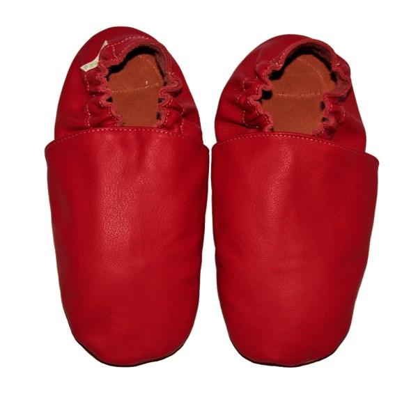 Chaussons bébé enfant adulte en cuir souple rouge