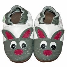 Chaussons bébé enfant en cuir souple lapin