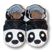 Chaussons bébé enfant en cuir souple panda