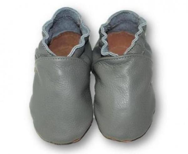 Chaussons bébé enfant adulte en cuir souple gris souris