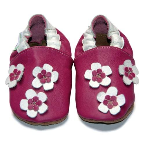 Chaussons bébé enfant en cuir souple flower