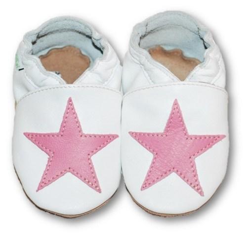 Chaussons en cuir souple bébé enfant étoile rose