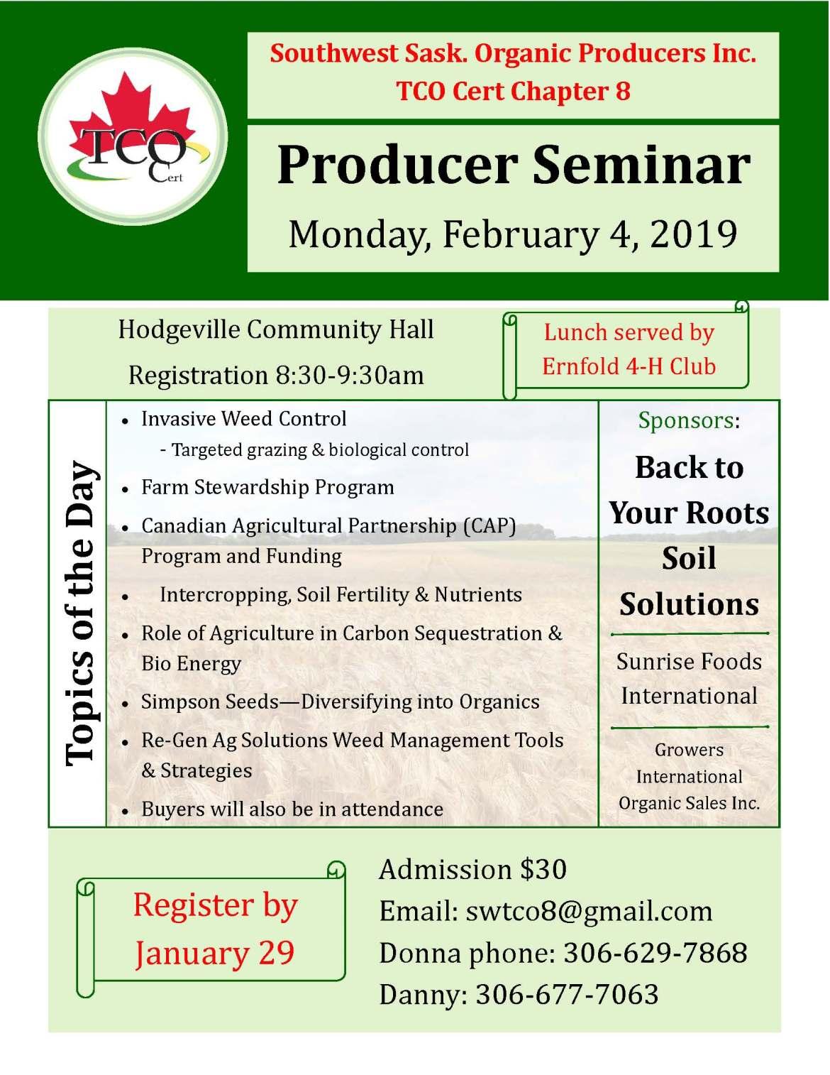 Organic Producer Seminar – Southwest Sask Organic Producers Chapter 8