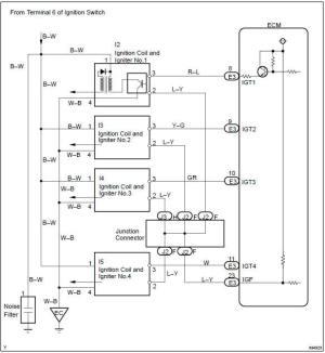 Toyota Corolla Repair Manual: Circuit description  Ignition coil primarysecondary circuit
