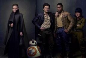 Carrie Fisher (Generalul Organa), Oscar Isaac (Poe Dameron), John Boyega (Finn) și Kelly Marie Tran (Rose Tico), alături de robotul BB-8.