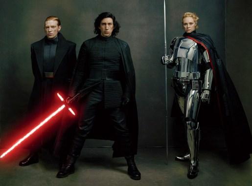 Liderii Primul Ordin, generalul Hux, Kylo Ren, și Căpitanul Phasma, interpretați de Domhnall Gleeson, Adam Driver și Gwendoline Christie.
