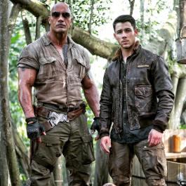 Dwayne Johnson, Nick Jonas in Jumanji:Welcome To The Jungle (2017)