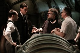 Michael Stuhlbarg, Michael Shannon, Director/Writer/Producer Guillermo del Torro and David Hewlett on the set of THE SHAPE OF WATER.