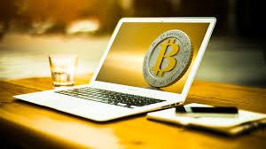 laptop and bitcoin
