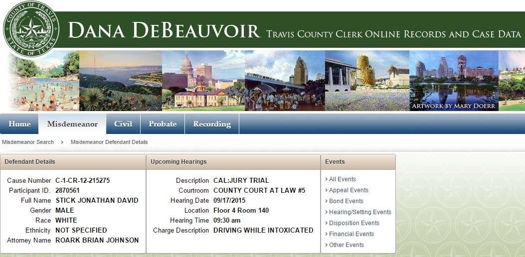 Misdemeanor Defendant Details Jack Stick