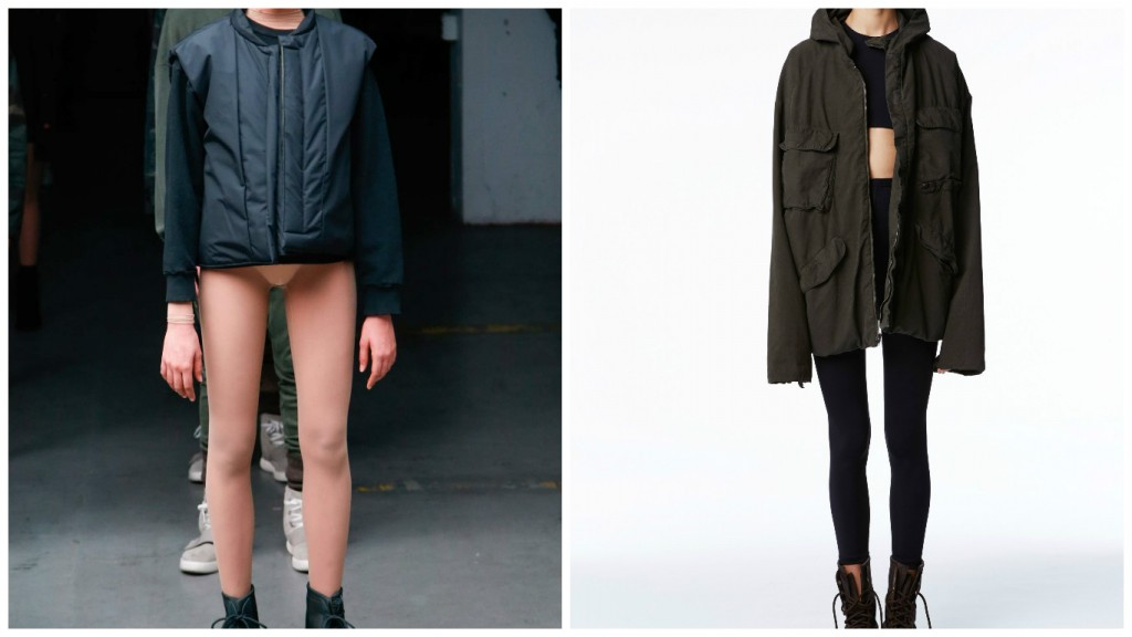 Which Yeezy is it? Yezzy Fall 2015 collection (left-Image Alessandro Garofalo / Feudiguaineri.com) and Yezzy Spring 2016 collection (Image courtesy of Yezzy)