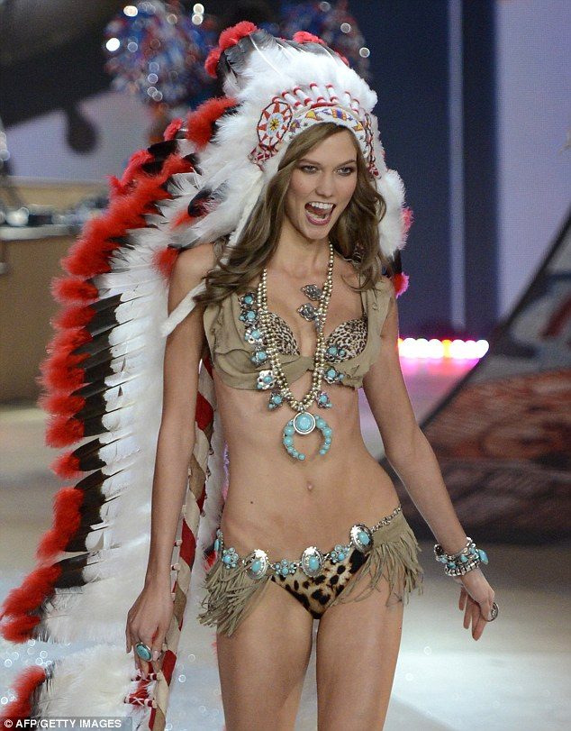 Infamous Native American themed outfit from the Victoria's Secret 17th annual fashion show. (Photo by AFP/GETTY IMAGES)