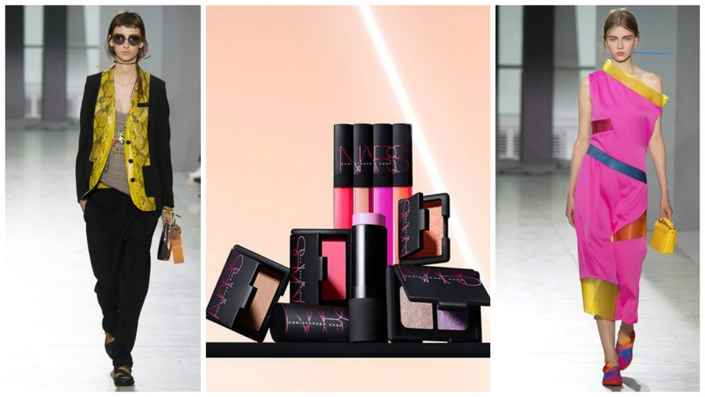 Christopher Kane SS16 Collection (left and right - Photo: Indigital) with the NARS - Kane Collection in the centre (Photo courtesy of NARS)
