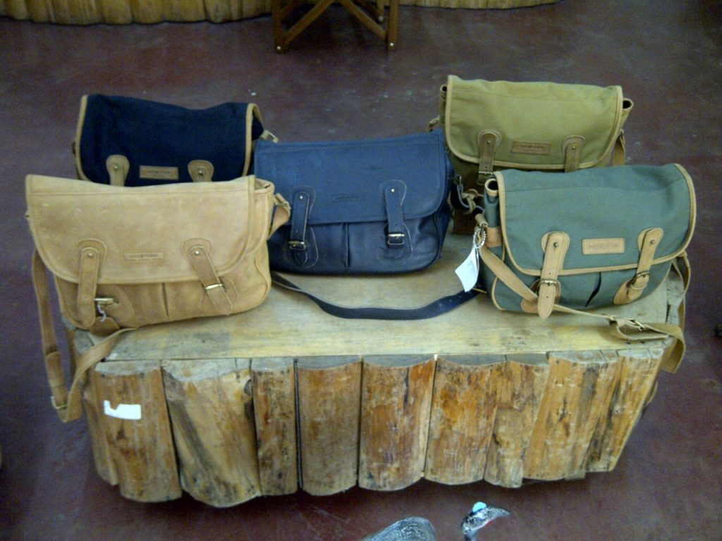 Sandstorm Fishing Bags in Tan pull-up leather, Nappa leather, Black Canva [Image: Courtesy of Sandstorm Kenya]