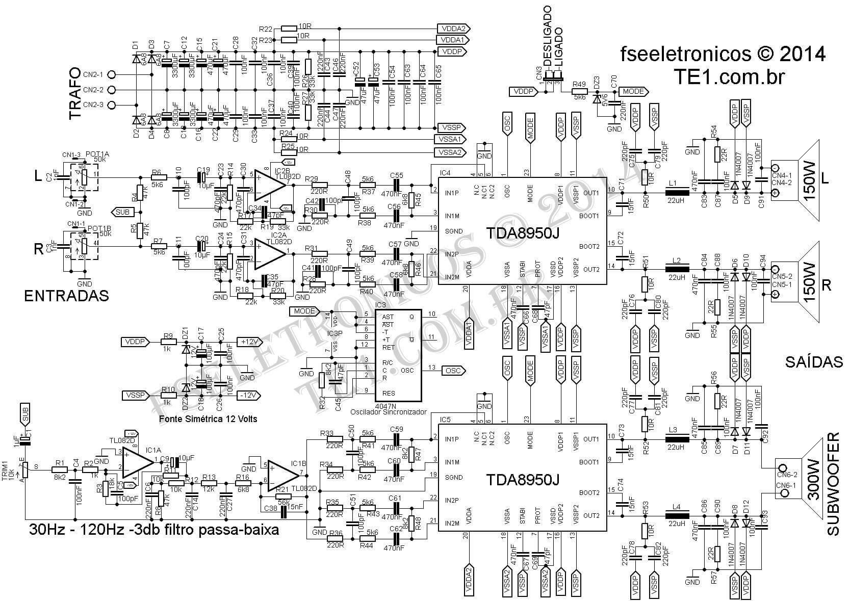 Circuito Amplificador Classe D 2 1 Canais 2x170 300w