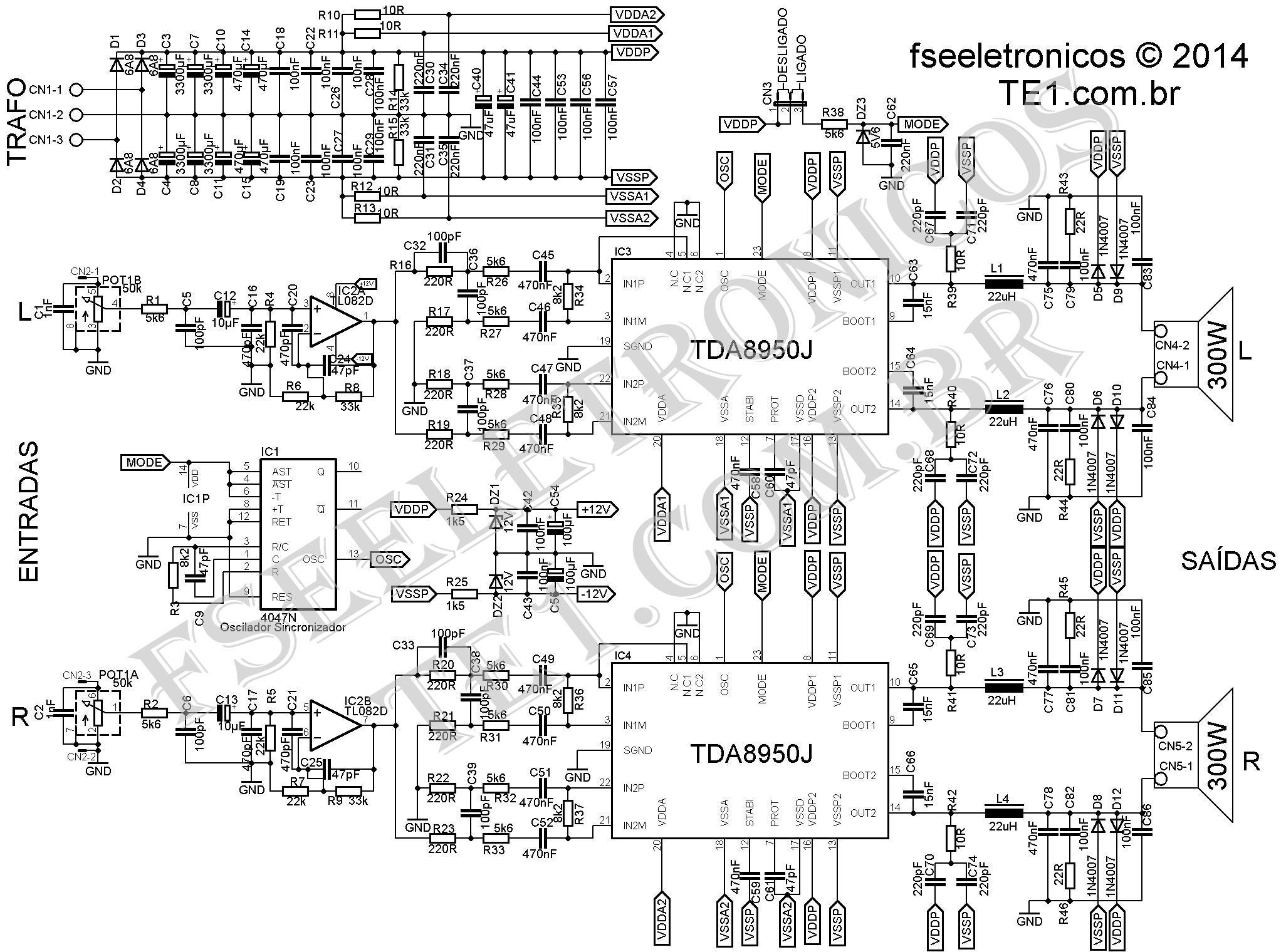 Circuito Amplificador Classe D 2x300w Utilizando Tda J