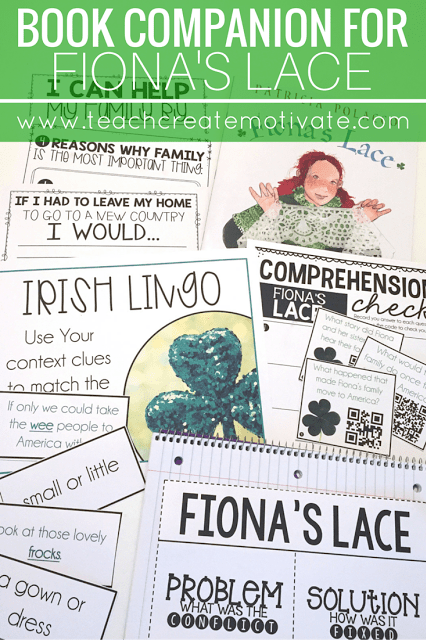 Engaging reading and writing activities for the month of March to accompany Fiona's Lace by Patricia Polacco